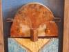 Konstverk av målade träbitar