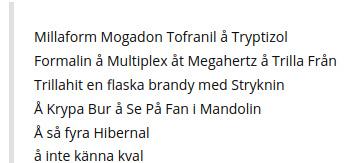 Millaform Mogadon Tofranil å Tryptizol – Dikt från Sundby Sjukhus